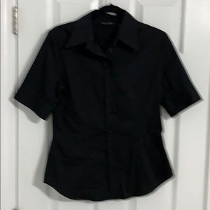 New York & Company Button Down Fitted Shirt-Black